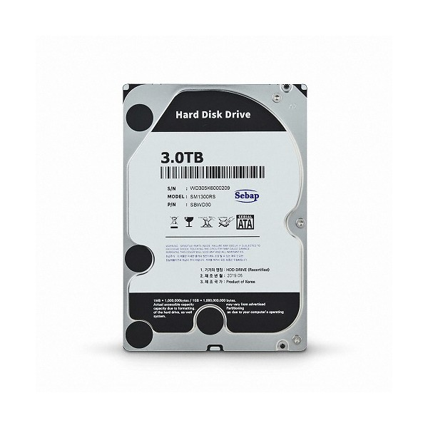 [SEBAP]  Amigos HDD 3TB SM1300RS (3.5HDD/ SATA3/ 5400rpm/ 64MB/ PMR/ 리퍼비시)