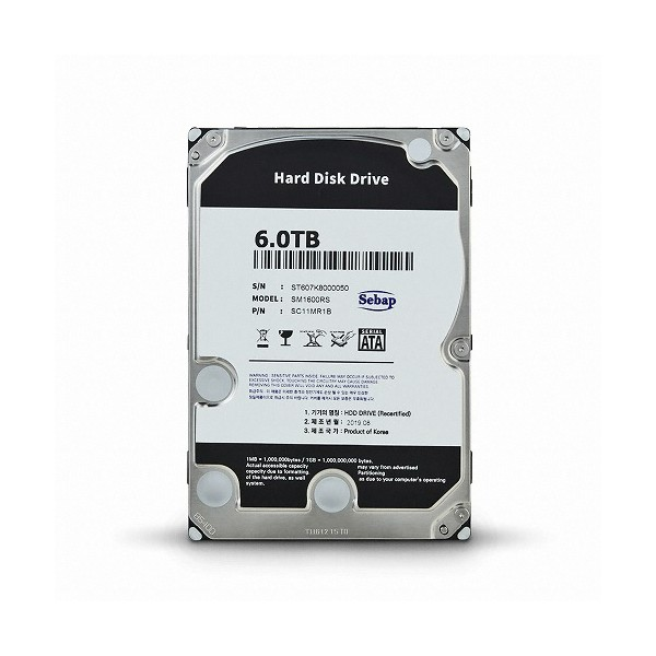 [SEBAP]  Amigos HDD 6TB SM1600RS (3.5HDD/ SATA3/ 5400rpm/ 256MB/ PMR/ 리퍼비시)