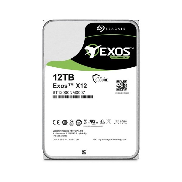 [SEAGATE]  EXOS HDD 3.5 SATA X12 12TB ST12000NM0007 (3.5HDD/ SATA3/ 7200rpm/ 256MB/ PMR)