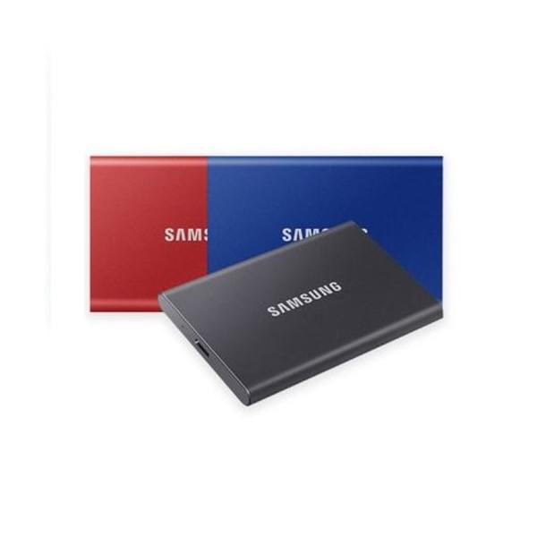 [삼성전자] 삼성SSD 공식인증 포터블 T7 SSD USB3.2 Gen2 (500GB) 블루 + 파우치증정